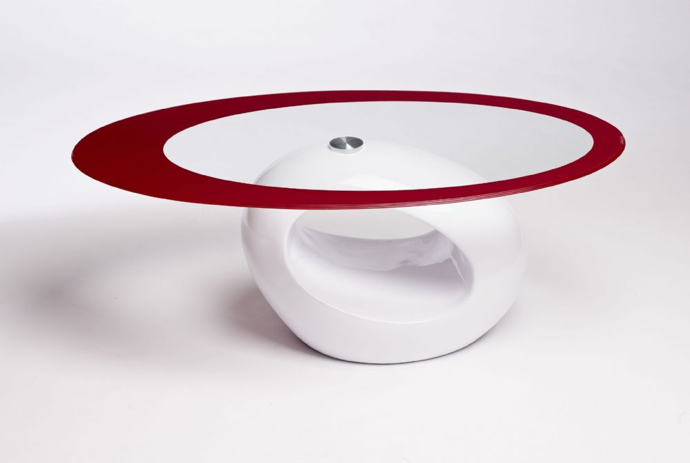 Retro Oval White Red
